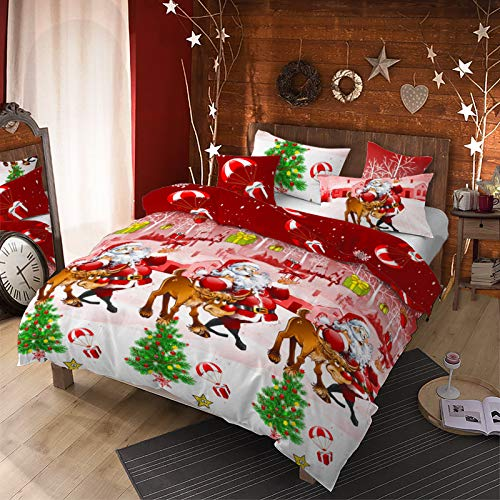 4Pcs Merry Christmas Santa Claus Deer Duvet Cover Set Queen (90x90 inches),Reindeer Pinetree Christmas Bedding Set, Parachute Gift Box Snowflake Printed Quilt Cover Bed Set for Xmas Gift (Red,Queen)