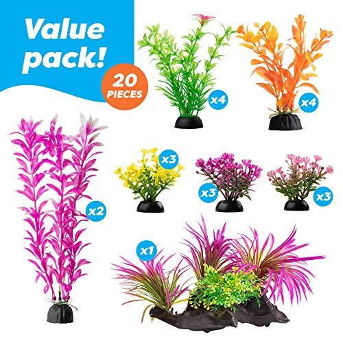 Aquarium Decorations 20 Or 23 Pack Lifelike Plastic Decor Fish Tank Plants, Small