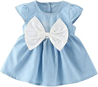 Toddler Baby Girls Party Priencess Dress,Summer Bowknot Dress Solid Denim Clothes Dress 0-24M