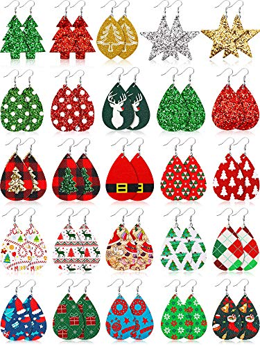 25 Pairs Christmas Faux Leather Earrings Teardrop Dangle Earrings Christmas Tree Star Dangle Earrings for Women Girls