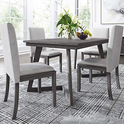 5-Piece Kitchen Dining Table Set, Wood Rectangular Table with 4 Linen Fabric Chairs for Dining Room/Kitchen/Compact Space