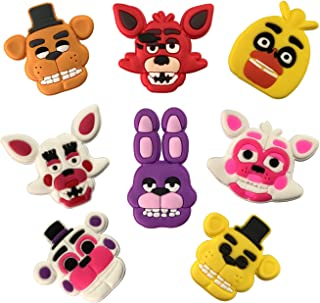 PARTY ULYJA Five Nights at Freddy's Shoe Charms 8-Pack, for Clog Buttons for Shoes, Decoration Wristband Bracelet Party Gift