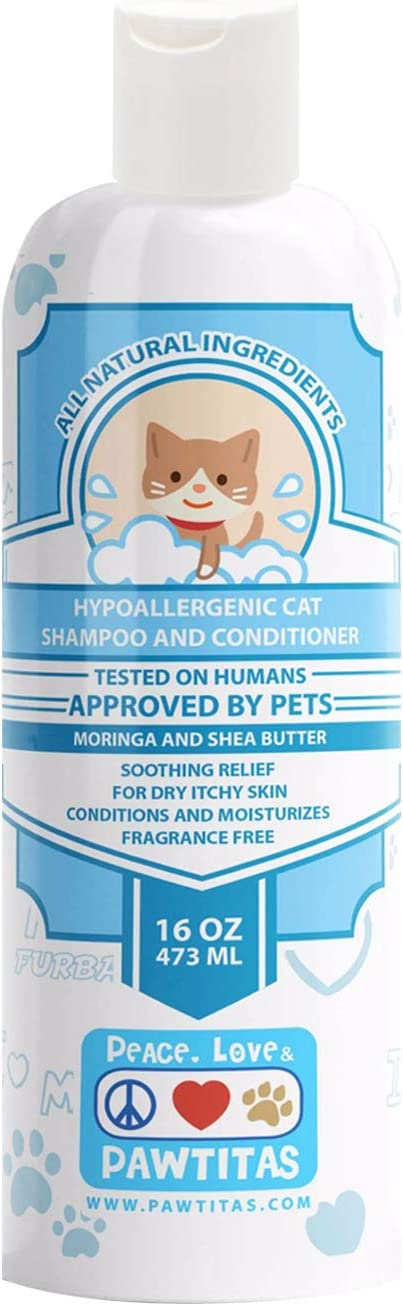 Pawtitas Dog and Cat Shampoo and Conditioner Pet Care Plant Based Made with Certified Organic Natural Herbs, Calming Essential Oil, Oatmeal, Puppy Or Kitten Shampoo Deodorant Fragrance Free 16 oz