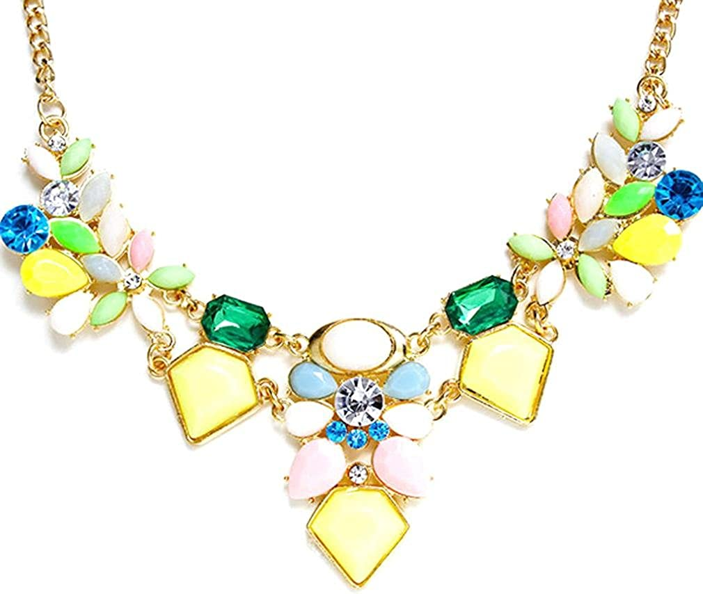 Becoler Fashion Crystal Necklace Jewelry Statement Pendant Charm Chain Choker