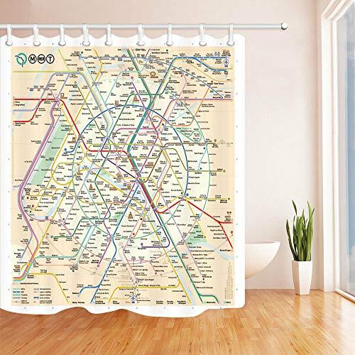 Paris Metro Map Shower Curtain