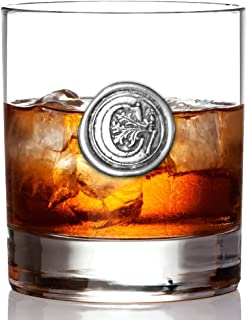 English Pewter Company 11oz Old Fashioned Whiskey Rocks Glass With Monogram Initial - Unique Gifts For Men - Personalized Gift With Your Choice of Initial (C) [MON103]