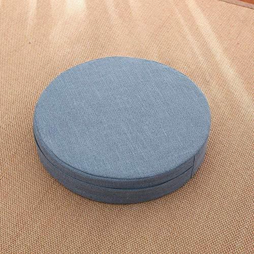 Muebles de Estilo japonés Tatami cojín del Asiento, extraíble y Lavable Cojín Espesar Lino futón Silla, Silla Redonda del Asiento Cojines Light Pad D50cm Azul (20 Pulgadas)