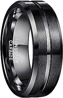خاتم زواج للرجال من كربيد التنجستين بلمسة نهائية غير لامعة وحواف مشطوفة من نانكاد، قطر 8 ملم وقياس 4 الى 17 ولون ازرق واسود