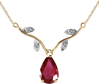 14k Solid Yellow Gold 1.52 Carat Natural Ruby Diamond Pendant Necklace