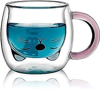 Qiuerte 250ML Creative Cartoon Cat Coffee Cup Cute Animal Double Glass Coffee Mug Transparent Heat Insulation and Anti-sca...