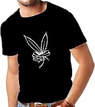 lepni.me Camisetas Hombre Mano de Hoja de Marihuana, Signo de la Paz 60s 70s Festival Hippie