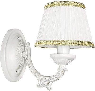 Lampe murale classique style maison de campagne vintage en tissu blanc E14 Shabby Chic Lampe Sofia pour chambre à coucher