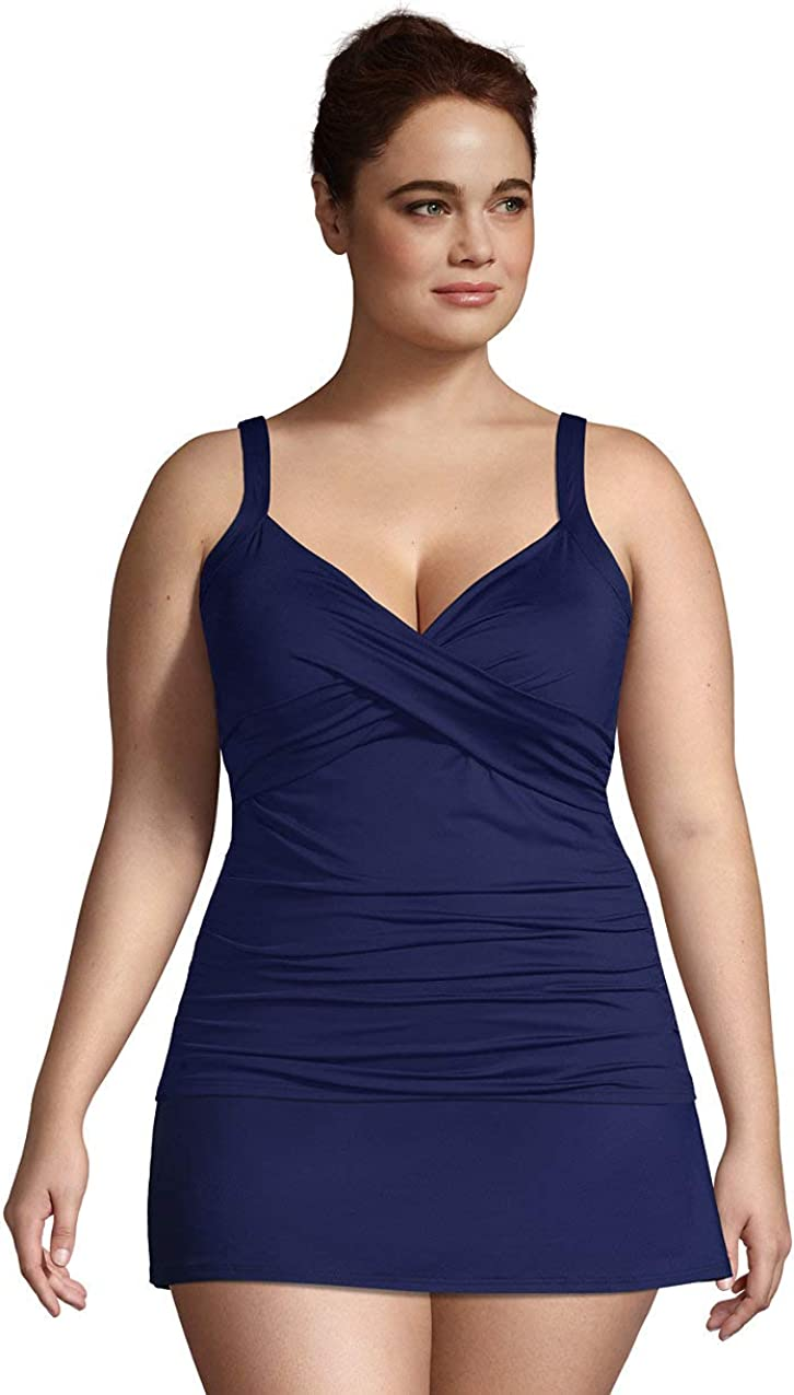 Lands' End Women's Plus Size DD-Cup Chlorine Resistant V-Neck Underwire Tankini Top Swimsuit Adjustable Straps