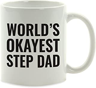 Andaz Press 11oz. Coffee Mug Gag Gift, World's Okayest Step Dad, 1-Pack, Funny Witty Coffee Cup Birthday Christmas Present Ideas