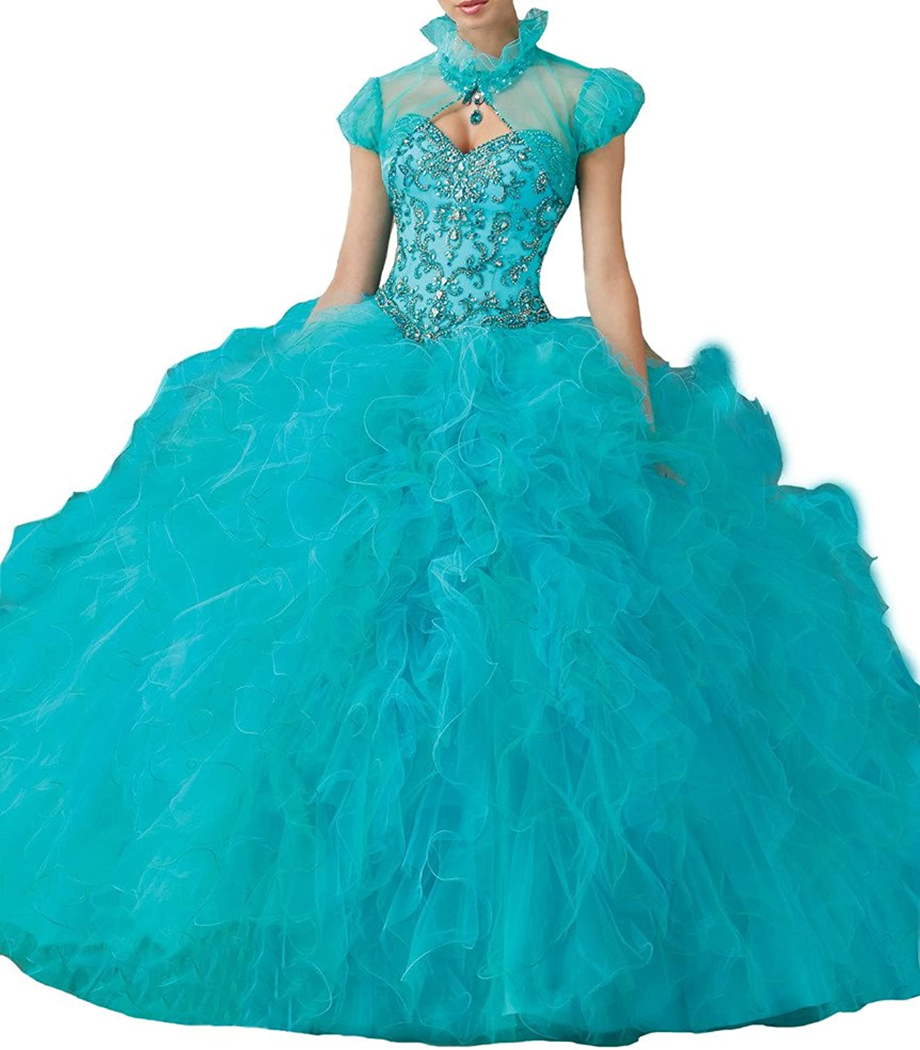 PuTao Women's With Jacket Beads Sweet 16 Ballgown Quinceanera Dresses