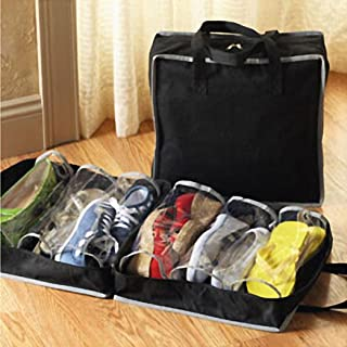 Sonmer Portable Shoes Travel Storage Bag, Tote Luggage Carry Pouch (Black)