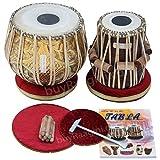 Tabla Set, Maharaja Musicals, 3.5 Kg Designer Golden Brass Bayan, Sheesham Tabla Dayan, Professional Drums, Padded Bag, Book, Hammer, Cushions, Cover, Tabla Drums Indian (PDI-FG)