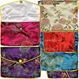 AnsonsImages 6pcs Chinese Silk Jewelry Pouches Mix Colors Red Turquoise Blue Gold 5.5x4.5 Inches