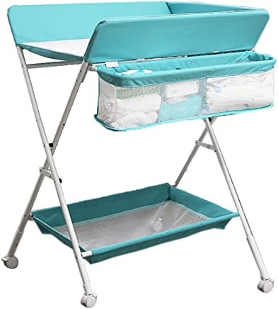 ZAQI Changing Table with Wheels Nursery Restroom Toddler Newborn Baby Foldable Adjustable Diaper Station with Storage  Gray Green  Color Blue