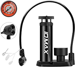 IDMAX Bike Pump, Portable Mini Bicycle Tire Pump Foot Activated Pump Tyre Inflator with Pressure Gauge Inflation Needle and Inflatable Device Valve Compatible Universal Presta and Schrader Valve