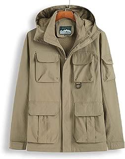 Men's Jacket - Lightweight Waterproof Wind Resistant Coat Fashion Multi-Pocket Work Jacket Outdoor Hooded Skiing Outwear (Color : Khaki, Size : M)