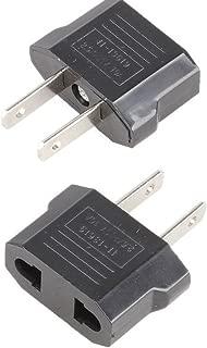 ANRANK E-U4113619AK European to USA American Outlet Plug Adapter (Black, 2-Pack)