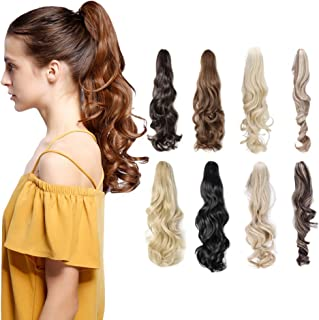 Long Short Claw Ponytail Hair Extension One Piece Cute Clip in on Ponytail Jaw/Claw Synthetic Straight Curly(12