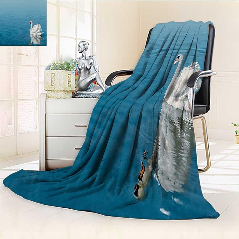 YOYIHOME Digital Printing Duplex Printed Blanket Swan Warm Microfiber All Season Summer Quilt Comforter 31.5  W by 47  H