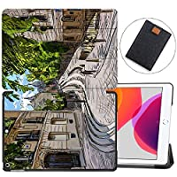"MAITTAO Case Fit New iPad 10.2"" / iPad 7th Generation 2019 Case,Trifold Stand Hard Back Shell Smart Cover for iPad 10.2 inch (A2197 A2198 A2200) Tablet Sleeve Bag 2 in 1 Bundle,Cityscape Painting 16"