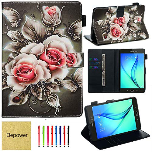 Elepower Samsung Galaxy Tab E 8.0 case, SM-T377/SM-T377A/SM-T375/SM-T378 Case, Slim Lightweight Flip Smart Wallet Cover with Card Stylus Holder for Tab E 8.0' Tablet[Auto Wake/Sleep] Rose Flowers