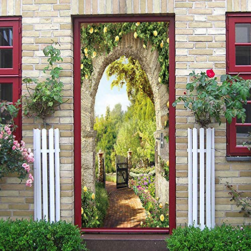 hmmsw Pegatinas De Puerta 3D Objeto Verde Verde Puerta Arqueada Mural Tridimensional Papel Tapiz Cartel Dormitorio De Hotel Decoración De La Puerta De La Habitación De Los Niños Pintura-88X200cm