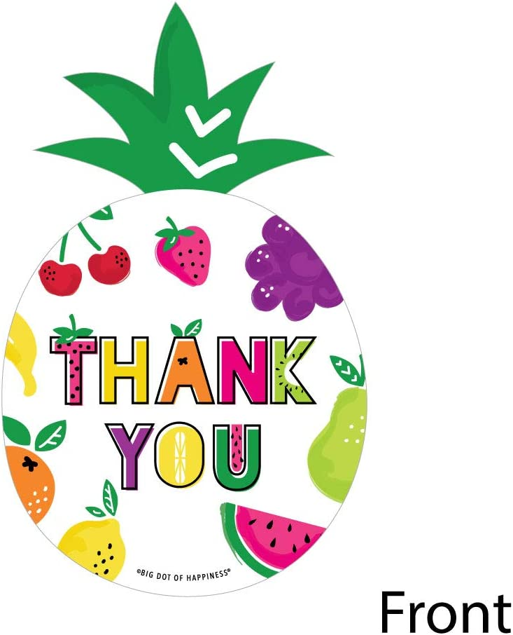 Tutti Fruity - Shaped Thank You Cards - Frutti Summer Baby Shower or Birthday Party Thank You Note Cards with Envelopes - Set of 12