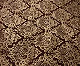 56' Wide Wine Cleopatra Chenille Fabric Gold Damask Print Upholstery Furniture Fabric by The Yard