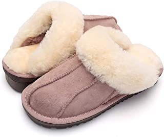 VENSHINE Womens Mens Wool and Sheepskin Slipper Fur Lining Fluffy Indoor House Slipper