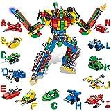 VATOS Alphabets Roboter Bausteine Konstruktionsspielzeug ab 6 7 8 9 10 Jahren für Jungen & Mädchen - 644 Teile Bausteine Set 27-in-1 STEM Gebäude Lernspielzeug Baukasten Geschenk für Kinder