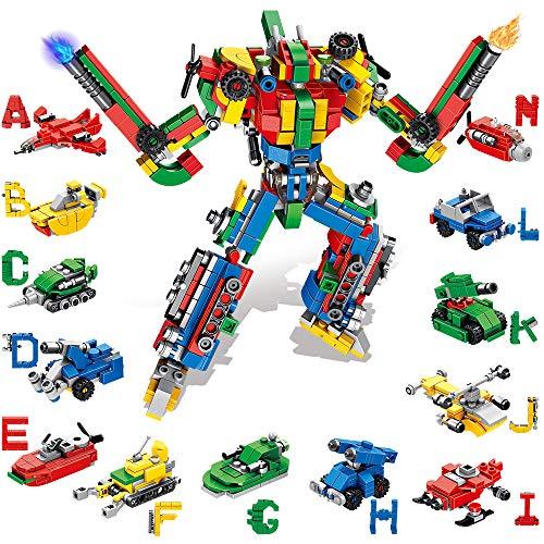 VATOS Juguetes de construcción STEM – 644 piezas de bloques de construcción de robot alfabetos 27 en 1 juguetes de construcción para niños y niñas de 5 a 6 7 8 9 10 11 12 años regalo