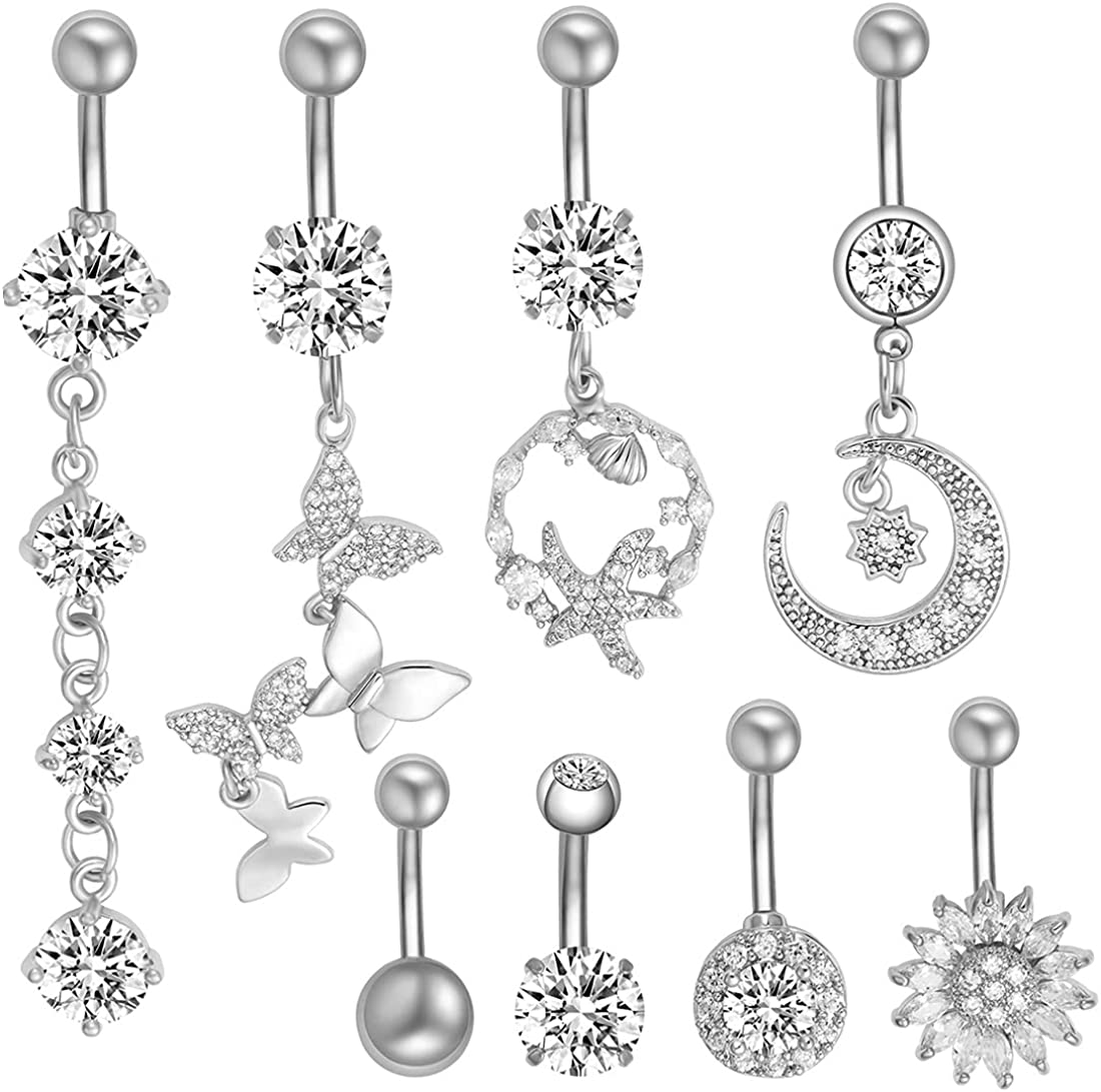 K&Y 8 pieces 14 G stainless steel belly button ring barbell body piercing jewelry cubic zirconia body jewelry set for women