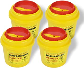 Sharps Container 1L (Pack of 4),Sharps Needle Disposal Containers,Biohazard Containers Sharps Box Small Sharps Container N...