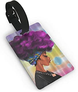 Jackie Prout ss Beautiful Woman African Beautiful Woman Luggage Tag Travel Identifier Labels Set For Bags Baggage Size 3.7 X 2.2 Inches