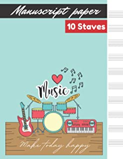 Manuscript paper 10 staves Plain Light Blue cover, 10 staves per page 100 pages – Large (8.5 x 11 inches)