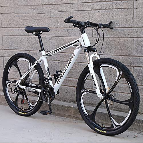 XQY Mountain Bike 24-Inch High-Carbon Steel 24-Speed Gear Urban Commuter Off-Road Vehicle Dual-Disc Road Bike,White