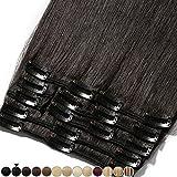 8'-24' Extension a Clip Cheveux Naturel Rajout Vrai Cheveux Humain Remy - Volume Moyen 8 Pcs (#1B Noir naturel, 25cm-70g)