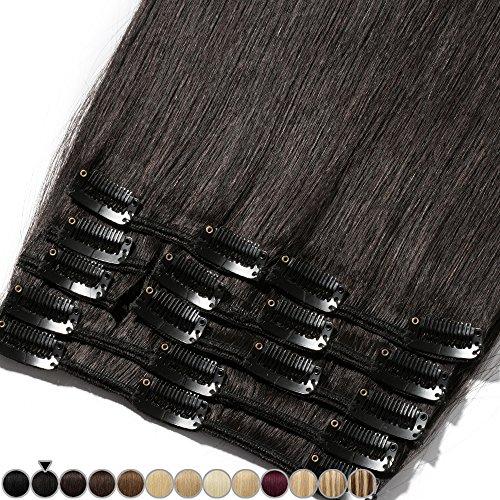 """8""""-24"""" Extension a Clip Cheveux Naturel Rajout Vrai Cheveux Humain Remy - Volume Moyen 8 Pcs (#1B Noir naturel, 55cm-110g)"""