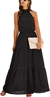 ECOWISH Women Dress Halter Neck Boho Floral Print Sleeveless Casual Backless Maxi Dresses with Belt