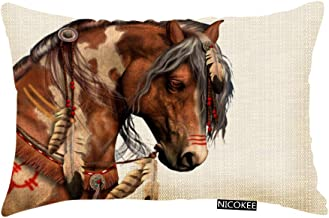 Nicokee Throw Pillow Cover Oil Painting Indian Brown Feather Horses Decorative Pillow Case Home Decor 20x12 Inches Pillowcase