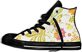 6321b32c4c48b3 Unisex High-Top Sneakers Shoes Flowers Lace Up Anti-slip Canvas Casual  Lightweight Trainers