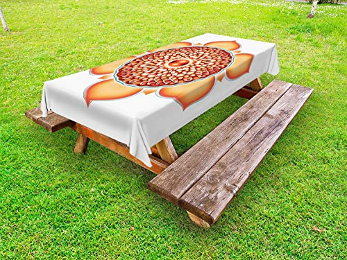 ABAKUHAUS Lotus Nappe Extérieure, Harmony Motif, Nappe de Table de Pique-Nique Lavable et Décorative, 145 cm x 265 cm, Orange Vermilion