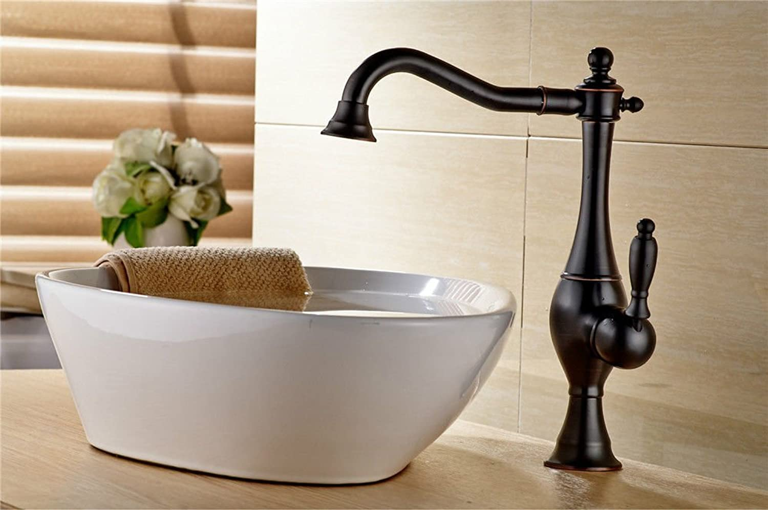 Gyps Faucet Basin Mixer Tap Waterfall Faucet Antique Bathroom Mixer Bar Mixer Shower Set Tap antique bathroom faucet Tap the black ancient washing dishes in a bathtub faucet kitchen sink single hole c