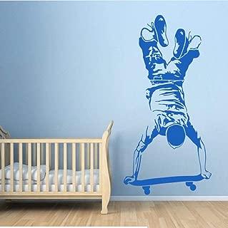 Skater Boy Wall Sticker Skateboarding Wall Decal Kids Boy Bedroom Extreme Sports Wallpaper Skateboard Vinyl Wall Poster 28X57Cm
