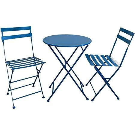 Piushopping Set Da Pranzo Per Giardino In Acciaio Con Tavolo Rotondo E 2 Sedie Pieghevoli Azzurro Amazon It Giardino E Giardinaggio